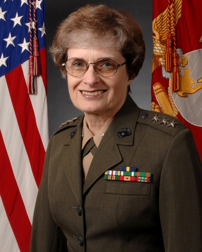 Lieutenant General Carol A. Mutter, Marine Corps, was the first woman in the U.S. military to achieve the rank of three star general.
