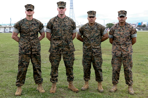 Sgt. Maj. Jeffery J. Vandentop, left, ceremoniously transferred accountability and authority of enlisted Marines to Sgt. Maj. Jose A. Beltran, center right, during a relief and appointment ceremony for 3rd Transportation Support Battalion, Combat Logistics Regiment 3, 3rd Marine Logistics Group at Camp Foster, Okinawa, Japan March 15, 2019. Beltran, the battalion sergeant major for 3rd TSB, is a native of Puerto Rico. Vandentop is a native of Toronto, Canada. (U.S. Marine Corps photo by Lance Cpl. Armando Elizalde)
