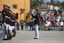 The U.S. Marine Corps Silent Drill Platoon, Marine Barracks Washington, D.C., perform during the Battle Color Ceremony at Marine Corps Recruit Depot San Diego, March 16.
