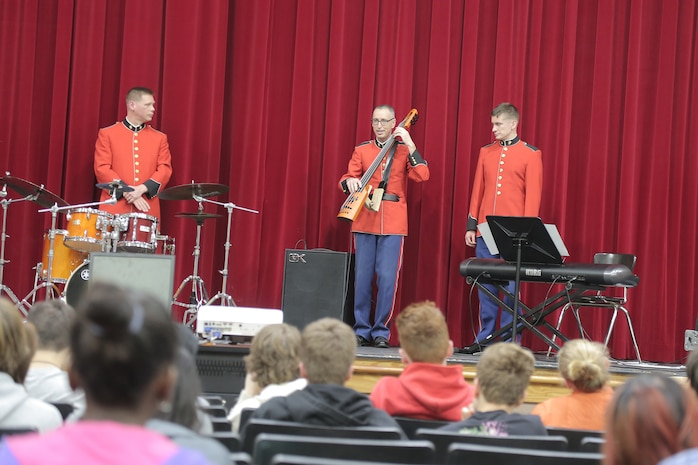 "A jazz combo from ""The President's Own"" U.S. Marine Band presented a Music in the High Schools program at Montgomery Blair High School in Silver Spring, Md. (U.S. Marine Corps photo by Master Sgt. Kristin duBois/released)"