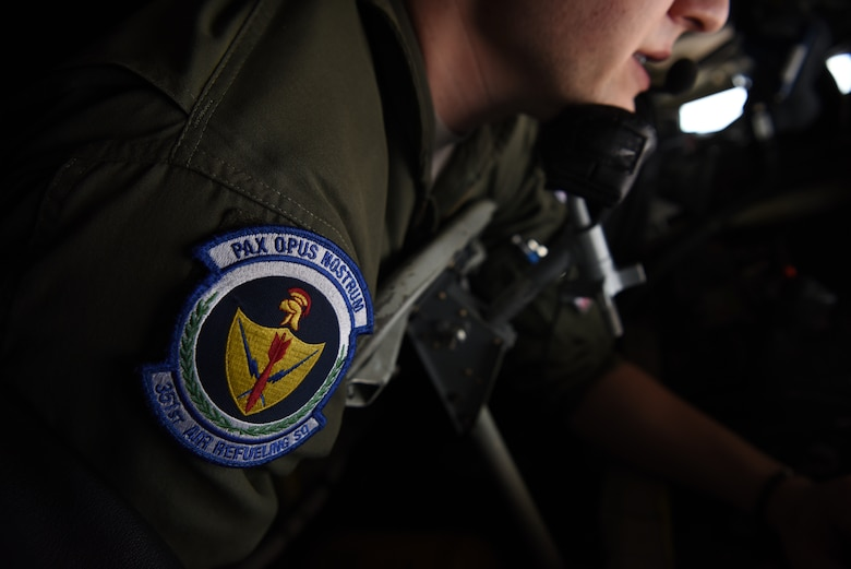 A KC-135 Stratotanker from RAF Mildenhall, England conducted air refueling training with Romanian air force F-16s over the skies of Romania, March 11, 2019. The crew was involved in training which enhanced regional capabilities to secure air sovereignty and promote peace and security through cooperation, collaboration, interoperability with NATO partners and other allies in the region. (U.S. Air Force photo by Airman 1st Class Brandon Esau)