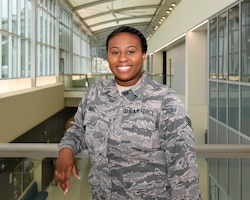 U.S. Air Force Senior Airman Kiana Ward, a bio-environmental engineering technician with the 916th Aerospace Medicine Squadron