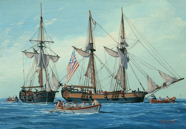 On October 13, 1775, the Continental Congress authorizes two vessels 'fitted out' with 10 carriage guns, a number of swivel guns, and crews of 80 to intercept ships carrying munitions and stores to the British army in America. This legislation constitutes the birth of the U.S. Navy.