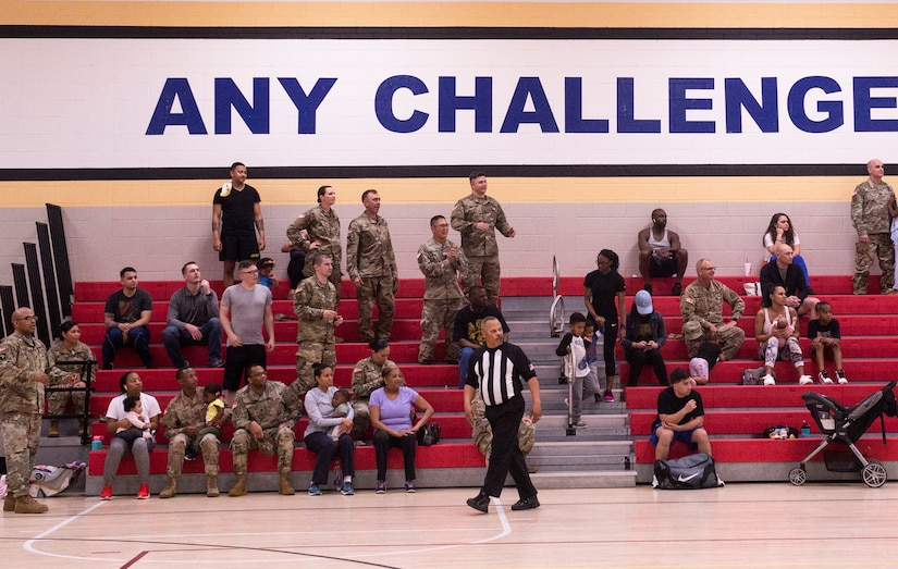Team Shaw members observe an intramural basketball championship game at Shaw Air Force Base, S.C., March 14, 2019.