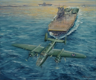 On April 18, 1942, in the first WWII attack on the Japanese mainland, the Doolittle Raid launches 16 Army Air Force B-25s from USS Hornet (CV-8) underway 650 miles off Japan. Of the mission's 80 crewmen, three are lost on the mission and only four of eight taken prisoner survive.