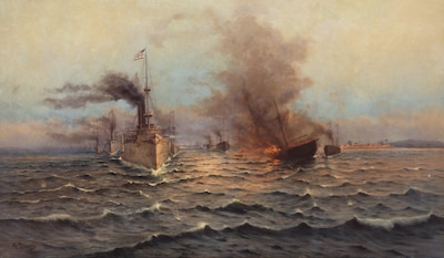 "On May 1, 1898, the Spanish-American War Battle of Manila Bay not only gives birth to the historical expression ""You may fire when ready, Gridley,"" but also in about six hours, liquidates the Spanish Fleet and installations in the harbor without the loss of a single American life."
