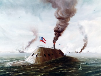 On March 9, 1862, during the Civil War, in the first battle between ironclads, USS Monitor and CSS Virginia batter each other at close range for more than four hours in Hampton Roads, Va. Though neither ship sustains much damage, Virginia eventually withdraws.
