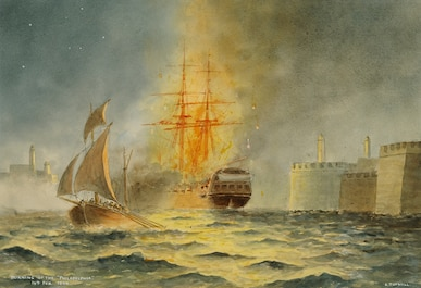 "On February 16, 1804, Lt. Stephen Decatur, with volunteers from Constitution and Enterprise, enters Tripoli harbor in Intrepid and burns the captured frigate Philadelphia without American losses. England's Lord Nelson calls the mission ""the most daring act of the age."""