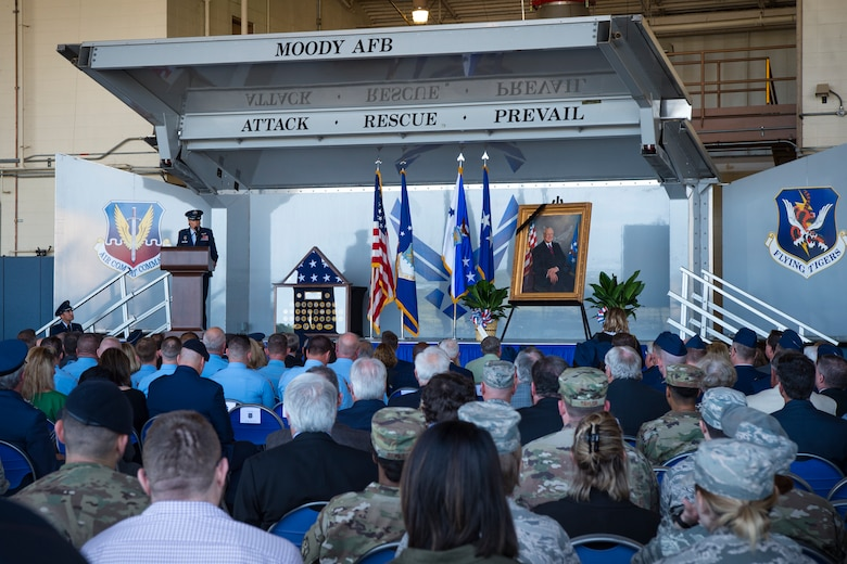 Col. Jennifer Short, 23d Wing commander, speaks during the Celebration of Life ceremony honoring the late Mr. W. Parker Greene, March 14, 2019, at Moody Air Force Base, Ga. Mr. Greene was an Air Force advocate who was the patriarch of the relationship between Moody and South Georgia for more than 40 years. Most notably, Mr. Greene's commitment to the military presence in Valdosta led to him becoming the first executive director of the Moody Support Committee. Mr. Greene, a steadfast Air Force advocate and one of the most influential military civic leaders, passed away Dec. 18, 2018. (U.S. Air Force photo by Airman 1st Class Taryn Butler)