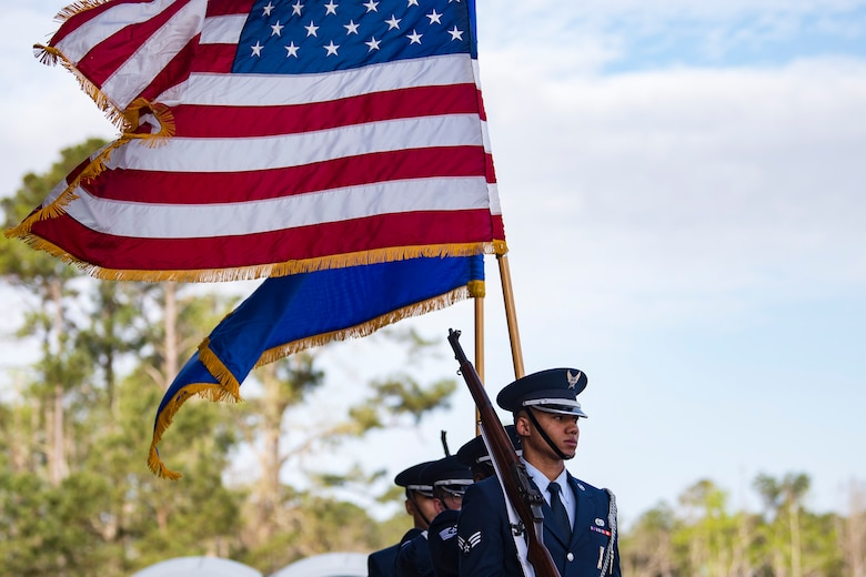 The Moody Base Honor Guard practices prior to the Celebration of Life ceremony honoring the late Mr. W. Parker Greene, March 14, 2019, at Moody Air Force Base, Ga. Greene, a steadfast Air Force advocate and one of the most influential military civic leaders passed away Dec. 18, 2018. (U.S. Air Force Photo by Senior Airman Janiqua P. Robinson)
