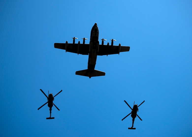 Aircraft fly in formation during a Celebration of Life ceremony honoring the late W. Parker Greene, March 14, 2019, at Moody Air Force Base, Ga. Mr. Greene was an Air Force advocate who was the patriarch of the relationship between Moody and the local community. He was also instrumental in keeping Moody active after it was identified for possible closure in 1991. His continued dedication to the installation resulted in him receiving the highest Air Force civilian honor, the Air Force Distinguished Public Service Award, twice. Mr. Greene, a steadfast Air Force advocate and one of the most influential military civic leaders, passed away Dec. 18, 2018. (U.S. Air Force photo by Airman 1st Class Eugene Oliver)