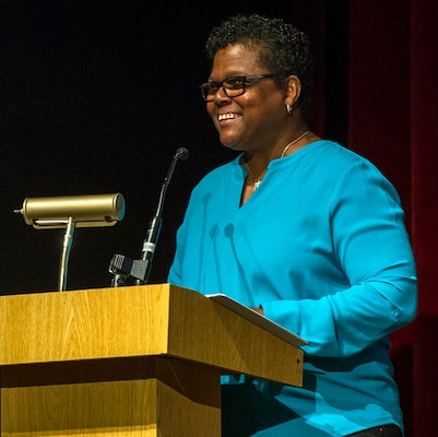 Retired Command Master Chief Octavia Harris, department chair, Department of Veteran Affairs' Advisory Committee for Women, delivers remarks during the Joint Base San Antonio-Fort Sam Houston Women's History Month observance March 13.