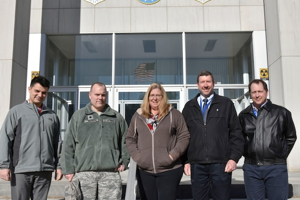 The Arnold Air Force Base Legal Office was recently awarded Air Force Materiel Command Small Legal Office of the Quarter for the fourth quarter of 2018. Pictured from left are Ryan Mueller, attorney advisor; Lt. Col. Andrew Barker, staff judge advocate; Leslie McGowan, paralegal specialist; Greg Porter, senior attorney advisor; and Eric Norton, paralegal specialist. Not pictured is Capt. Janet Ashitey, deputy staff judge advocate. (U.S. Air Force photo by Bradley Hicks)