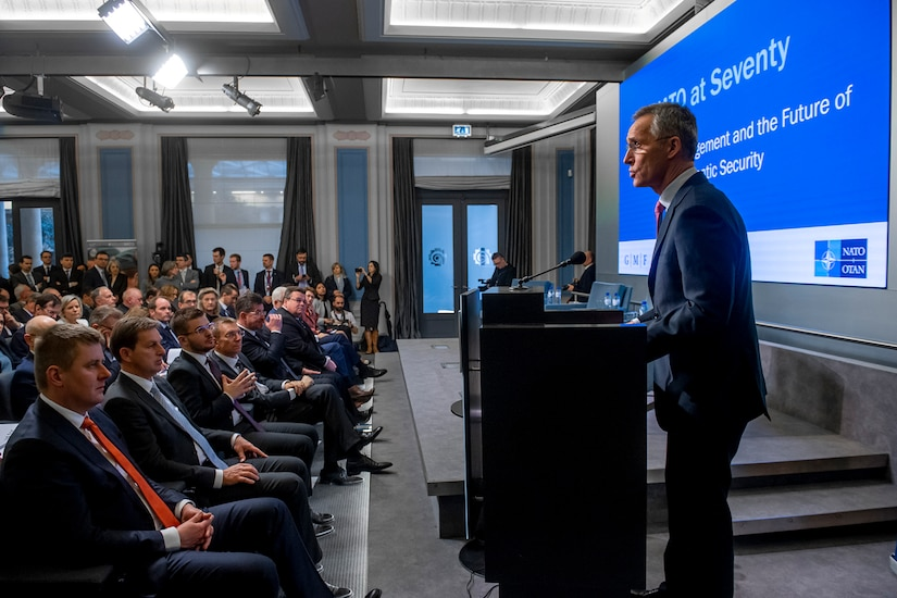 NATO Secretary General Jens Stoltenberg delivers keynote remarks.