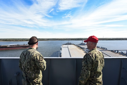 Master-at-Arms 2nd Class Benjamin Goga, left, Coastal Riverine Squadron 10 Bravo, and Master-at-Arms Chief Petty Officer Mark Puckett, right, Coastal Riverine Squadron 10 Bravo 2nd Platoon, observe advanced battle drills during an exercise March 12, 2019, at Joint Base Charleston, S.C. – Naval Weapons Station.