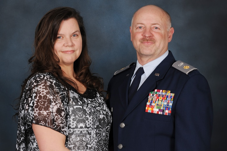 Teresa Conner, headquarters Civil Air Patrol Montana wing administrator, left, and husband John Conner, 341st Logistics Readiness Squadron assistant director of logistics and a retired Air Force veteran, poses for a photo March 1, 2019, at Malmstrom Air Force Base, Montana.