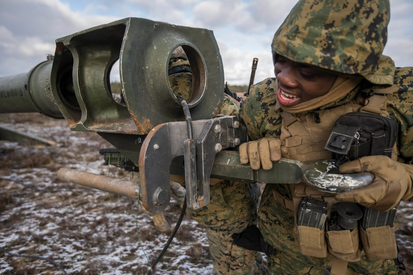 Closeup of Marine with a howitzer