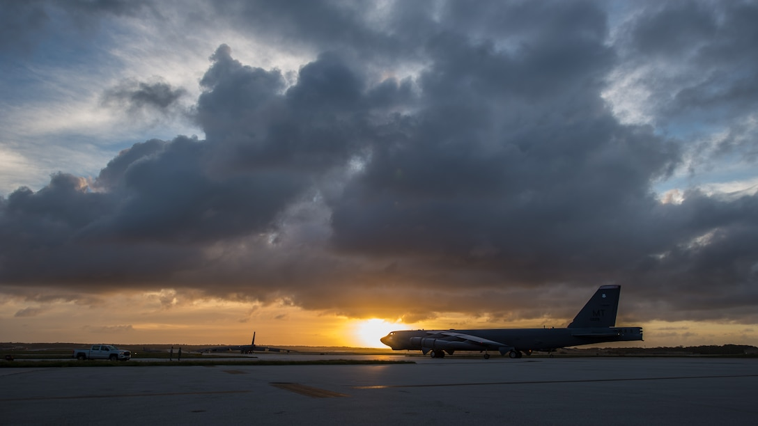 A B-52 Stratofortress taxis down the flightline at Andersen Air Force Base, Guam, March 18, 2019.
