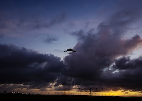 A B-52 Stratofortress bomber departs Andersen Air Force Base, Guam, for a training mission, March 18, 2019.