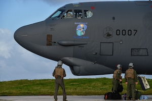 Aircrew assigned to the 23rd Expeditionary Bomb Squadron prepare to board a B-52 Stratofortress at Andersen Air Force Base, Guam, March 18, 2019.