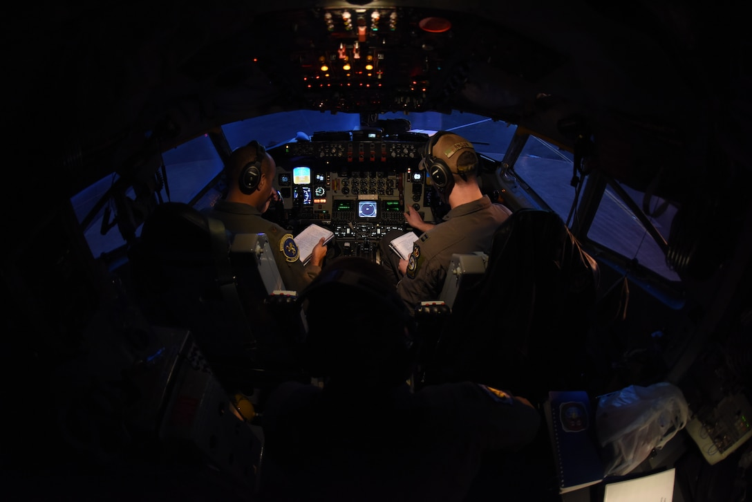 A KC-135 Stratotanker crew conduct pre-flight checks at RAF Mildenhall, England, March 11, 2019. The crew was involved in training with Romanian air force F-16s over the skies of Romania which enhanced regional capabilities to secure air sovereignty and promote peace and security through cooperation, collaboration, interoperability with NATO partners and other allies in the region. (U.S. Air Force photo by Airman 1st Class Brandon Esau)