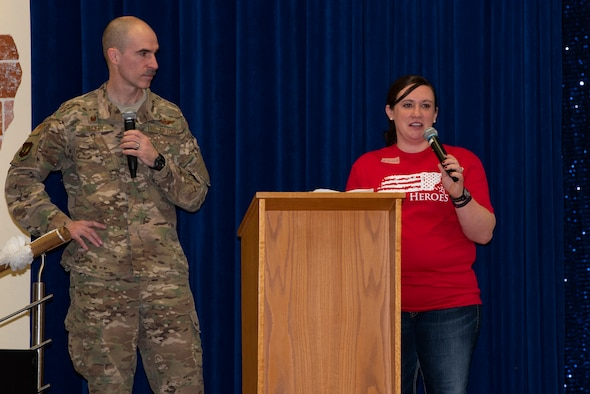 U.S. Air Force Col. Jason Bailey, 52nd Fighter Wing commander, and Mrs. Erin Bailey, 52nd Fighter Wing commander's spouse, give opening remarks for Mental Health Awareness Forum at the Brick House on Spangdahlem Air Base, Germany, March 15, 2019. The Baileys talked about the changing views that the Air Force has on mental health and that Airmen need to reach out if they need help. (U.S. Air Force photo by Airman 1st Class Branden Rae)