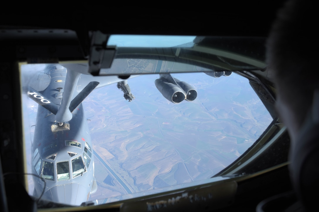 B-52 bomber refueled by KC-135 over Romania.