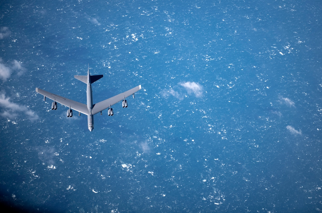 B-52 Stratofortress seen flying off the English coast.