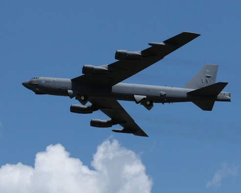 """A B-52 Stratofortress from the 2nd Bomb Wing, Barksdale AFB, LA, prepares to land at the Sioux Gateway Airport / Col. Bud Day Field, in Sioux City, Iowa. The B-52 will be on display at the """"Air and Ag Show"""" hosted by the 185th Air Refueling Wing."""