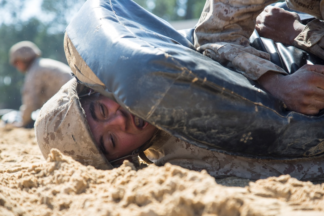 Recruits with Echo Company, 2nd Recruit Training Battalion, complete the obstacle course during the Crucible on Parris Island, S.C., Feb. 21, 2019.  The obstacle course challenges recruits to work together as a team and overcome obstacles.  (U.S. Marine Corps Photo by Lance Cpl. Yamil Casarreal)
