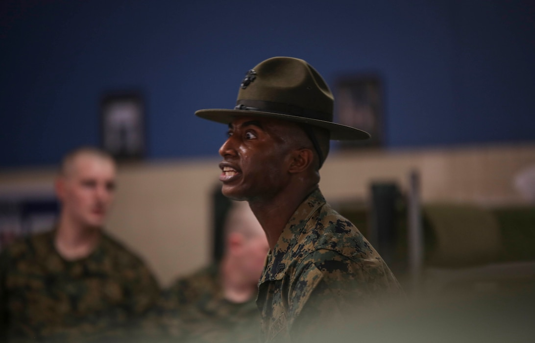 Drill instructors with Kilo Company set the tone for their new recruits during forming day one at Marine Corps Recruit Depot Parris Island, S.C. Jan. 26, 2019. Kilo Company will spend forming day learning the rules and regulations of recruit training, regarding everything from how to act in the squad bay to how to speak to drill instructors.