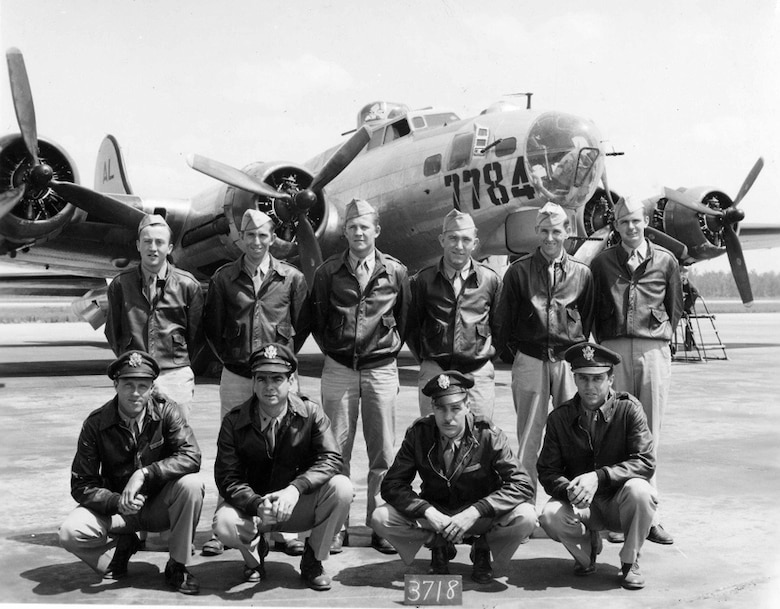 1st. Lt. George Wilson (First row, far left) poses with his B-17 crew in an undated photograph. Wilson was later killed in action when his B-17 took groundfire on the crews thirds mission over German occupied France on July 8, 1944.
