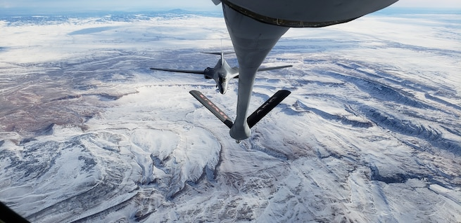 A KC-135R assigned to the 151st Air Refueling Wing, Salt Lake City, Utah refuels a B-1 Lancer.