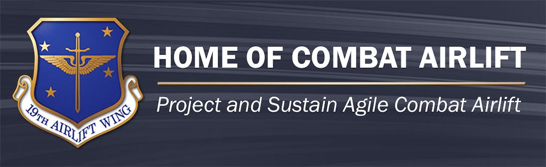 LRAFB website banner that has 19th Airlift Wing crest and the words Home of Combat Airlift.