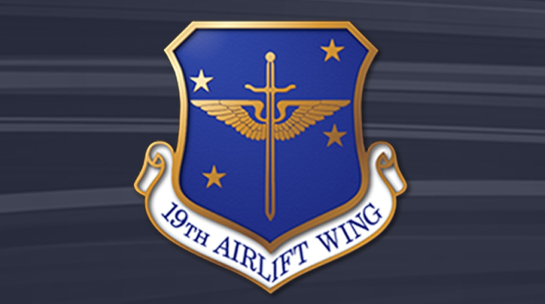 19th Airlift Wing crest on bluish-gray striped background