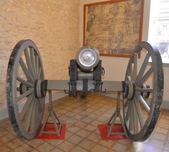 A pre-Civil War period field howitzer cannon is displayed in the foyer of the Fort Sam Houston Museum. The historic cannon, which had been put on display inside the Quadrangle for years, had been in storage in a warehouse at Joint Base San Antonio-Fort Sam Houston before being moved to the museum. The cannon will become the centerpiece of a new exhibit at the museum about artillery that will explain the differences between cannons, howitzers and mortar, one of several changes the museum is making to its exhibits this year.