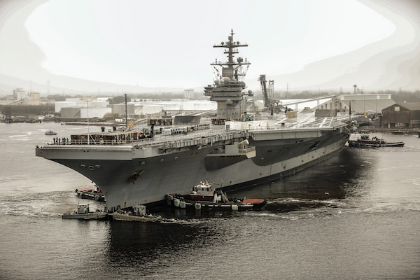 USS George H.W. Bush (CVN 77) arrived at Norfolk Naval Shipyard (NNSY) Feb. 21 for a 28-month Drydocking Planned Incremental Availability (DPIA).