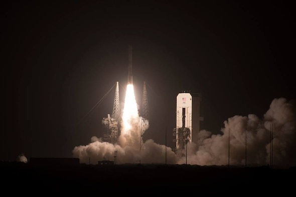 The United Launch Alliance's Delta IV rocket launches with a Wideband Global SATCOM WGS-10 satellite from Cape Canaveral Air Force Station, Fla. Complex 37 on March 15, 2019. The satellite brings enhanced communication capability for command and control of U.S. military forces on the battlefield. (U.S. Air Force photo by Tech. Sgt. Andrew Satran)