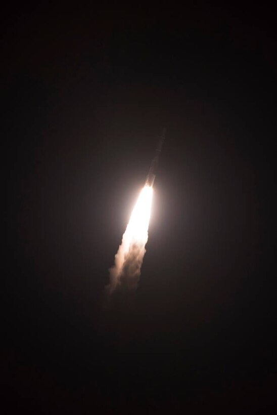 The United Launch Alliance's Delta IV rocket launches a Wideband Global SATCOM WGS-10 satellite from Cape Canaveral Air Force Station, Fla. Complex 37 on March 15, 2019. The satellite brings enhanced communication capability for command and control of U.S. military forces on the battlefield. (U.S. Air Force photo by Tech. Sgt. Andrew Satran)