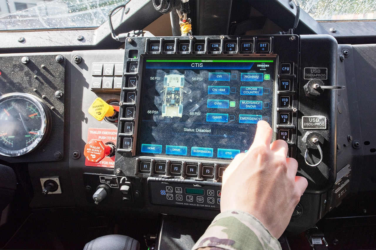 A touchscreen in a tactical vehicle