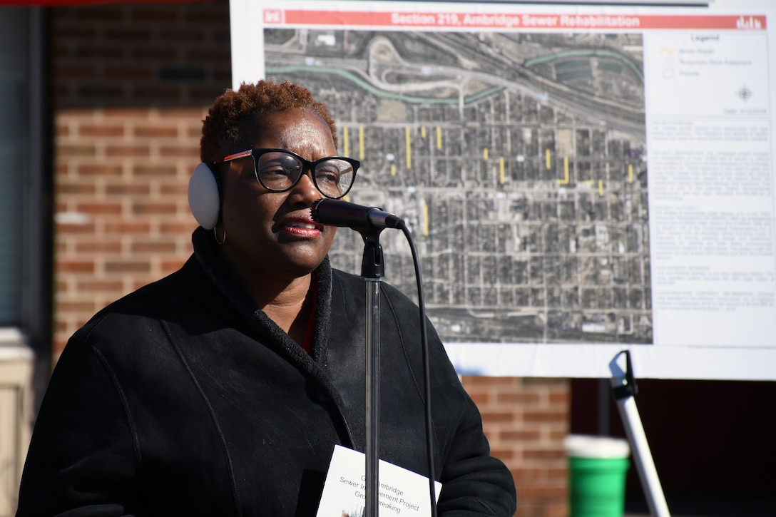 Karen Freeman-Wilson, mayor of Gary, Indiana, speaks during a groundbreaking ceremony in the Ambridge neighborhood of Gary March 19. The U.S. Army Corps of Engineers and the Gary Sanitary District are partnering on the sewer improvement project. (U.S. Army photo by Patrick Bray/Released)
