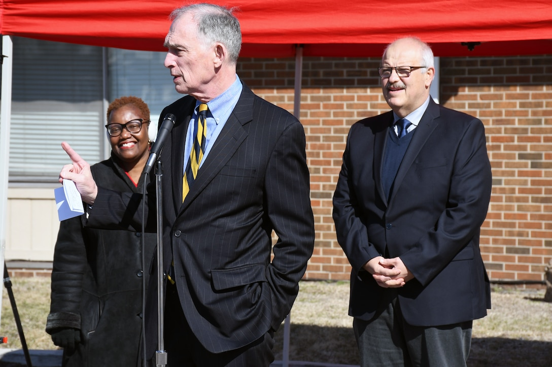 Rep. Pete Visclosky (IN-1) speaks during a groundbreaking ceremony in the Ambridge neighborhood of Gary March 19. The U.S. Army Corps of Engineers and the Gary Sanitary District are partnering on the sewer improvement project. (U.S. Army photo by Patrick Bray/Released)