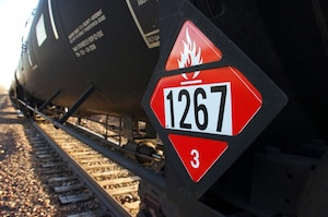 The railroad transports hazardous cargo several times a month near the northern part of Travis Air Force Base, California.  An accident along the route could potentially expose residents in the area to toxic fire or fumes.  In case of a hazardous material emergency, residents should go inside and seal up their designated safe room with plastic and duct tape and wait for the danger to pass. (Courtesy photo)