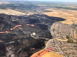 The Nelson Fire in August 2018 destroyed more than 2,000 acres along Interstate 80 in Vacaville, California.  Residents living closest to the wildfire area were forced to evacuate.  In the event of a wildfire, follow the directions of local civil authorities.  (Courtesy photo)