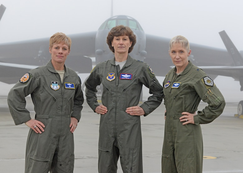 From left to right: Brig. Gen. Kristin Goodwin, Commandant of Cadets of the U.S. Air Force Academy, Maj. Gen. Dawn Dunlop, Special Access Program Central Office director, Office of the Undersecretary of Defense for Acquisition and Sustainment, and Brig. Gen. Jeannie Leavitt, Air Force Recruiting Service commander, pose for a photo at Edwards Air Force Base, California, Feb. 20, 2019. The generals were accompanied by more than 80 fellow female Airmen to take part in filming of an Air Force Recruiting Service television commercial. (U.S. Air Force photo by Kenji Thuloweit).