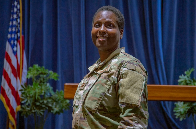 Capt. Tamara Rowe, 647th Air Base Group chaplain, poses for a photo at the Hickam Chapel on Joint Base Pearl Harbor-Hickam, Hawaii, March 13, 2019. The 647th ABG Chaplain Corps, provides a wide range of services and ministries for military members and their families to ensure the spiritual wellness and resiliency of those assigned to JBPHH. (U.S. Air Force photo by Tech. Sgt. Heather Redman)