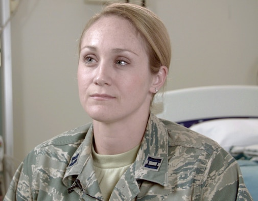 Air Force Capt. (Dr.) Lauren Lee, hematology/oncology fellow at Brooke Army Medical Center, reflects on the care BAMC staff members provided Alexis Piper, a patient with sickle cell anemia, who nearly died from a rare condition called hyperhemolysis. Hyperhemolysis syndrome is a potentially fatal transfusion complication. Many BAMC staff members collaborated to find a treatment for the life-threatening condition. (U.S. Air Force photo by Corey Toye)