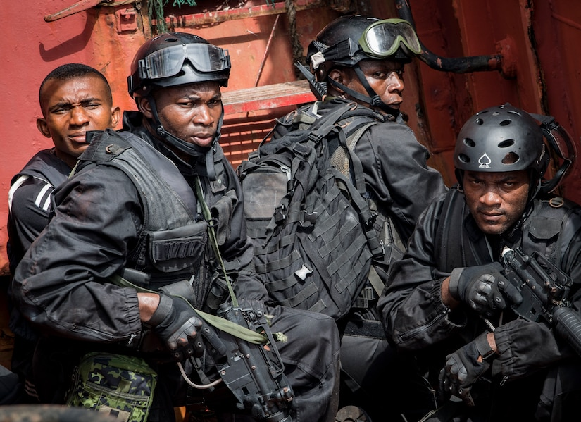 Members of Cameroonian armed forces participate in visit, board, search, and seizure drill aboard Nigerian training vessel during U.S. Africa Command–sponsored exercise Obangame Express 2019, in Lagos, Nigeria, March 18, 2019 (U.S. Navy/Kyle Steckler)