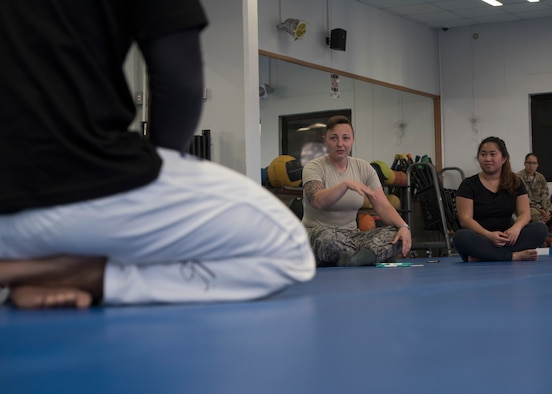 First Lt. Nicole Flanagan, 39th Air Base Wing sexual assault response coordinator, briefs a self-defense class March 19, 2019, at Incirlik Air Base, Turkey.