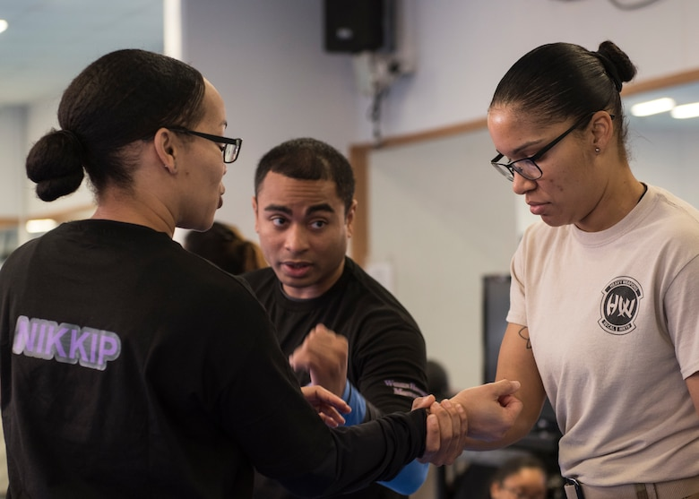 Tech. Sgt. James Baldwin, 39th Security Forces Squadron NCO in-charge of standardization and evaluations, teaches techniques during a self-defense class March 19, 2019, at Incirlik Air Base, Turkey.